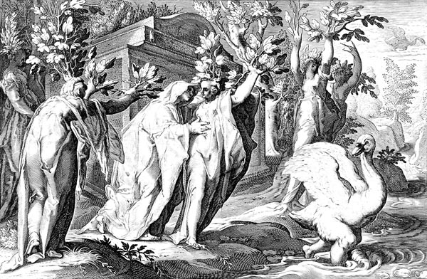 Goltzius Illustration - Phaeton's Sisters Changed into Poplars