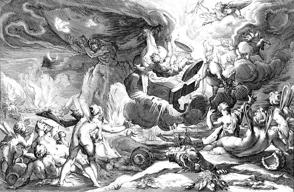 Goltzius Illustration - Phaeton Driving the Chariot to the Sun