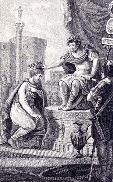 Tiridates receives the crown of Armenia from Nero