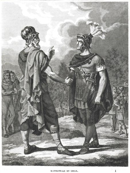 Kattenwald, Leader of he Chatti, Shakes Hands with Julius Caesar