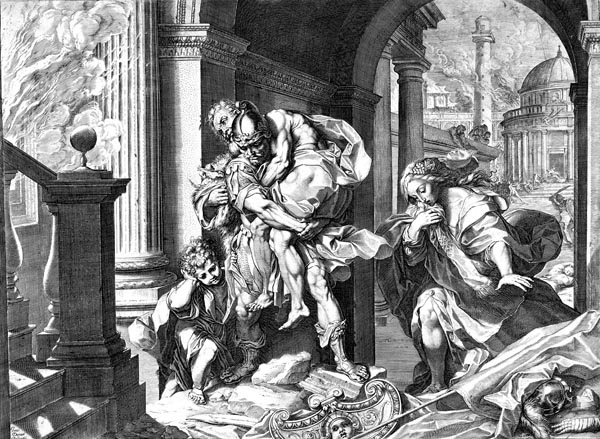 Aeneas and His Family Fleeing Troy, Agostino Carracci