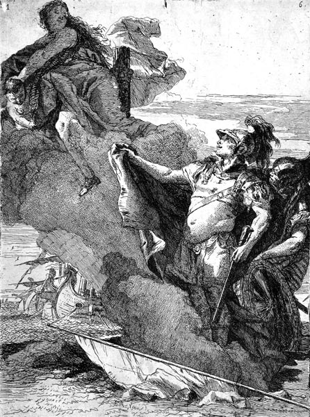 Aeneas Recognising Venus as She Disappears in a Cloud, Giovanni Domenico Tiepolo