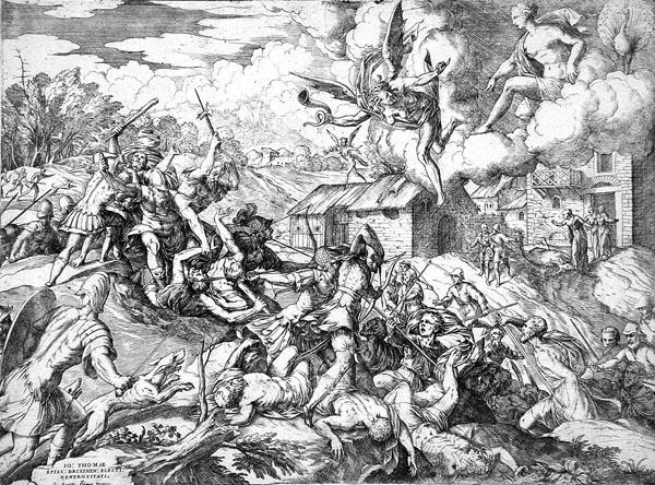 The Servants of Aeneas Battling the Servants of the Latin King, Giovanni Battista Fontana