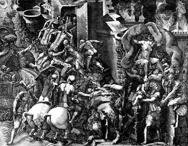The Fall of Troy and the Escape of Aeneas, Giorgio Ghisi
