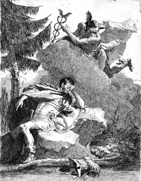 Mercury Appearing in a Dream to Aeneas, Giovanni Domenico