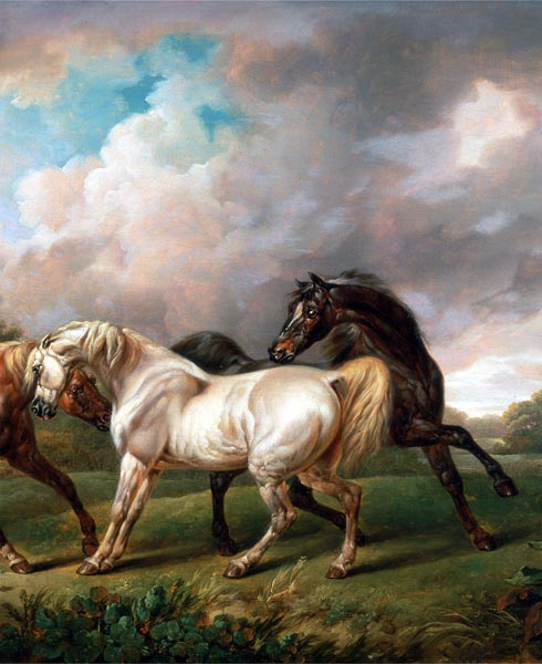 Three Horses in a Stormy Landscape